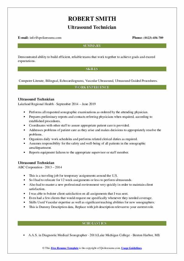ultrasound resume summary