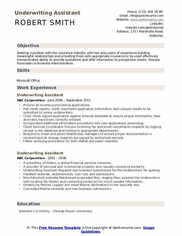 Underwriting Assistant Resume Samples Qwikresume
