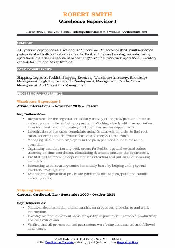 shipping and receiving manager resumes