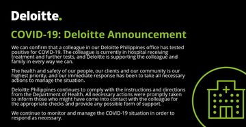 Deloitte Philippines confirms employee tested positive for coronavirus