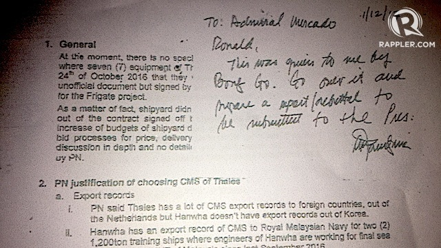 POST-IT NOTE. Defense Secretary Delfin Lorenzana asks former Philippine Navy chief Vice Admiral Ronald Mercado to respond to issues raised by Special Assistant to the President Christopher Go about the P15.7-billion project to acquire Philippine warships. Screenshot of a sourced document