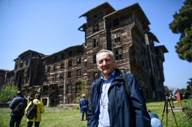 WOODEN. Piet Jaspaert, vice president of Europa Nostra heritage organization poses in front of the old Prinkipo Greek Orthodox orphanage at Princes island in Istanbul. Photo by Ozan Kose/AFP