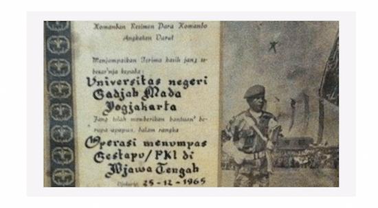 RPKAD. Piagam milik UGM yang diduga berasal dari RPKAD. Foto diambil dari Change.org