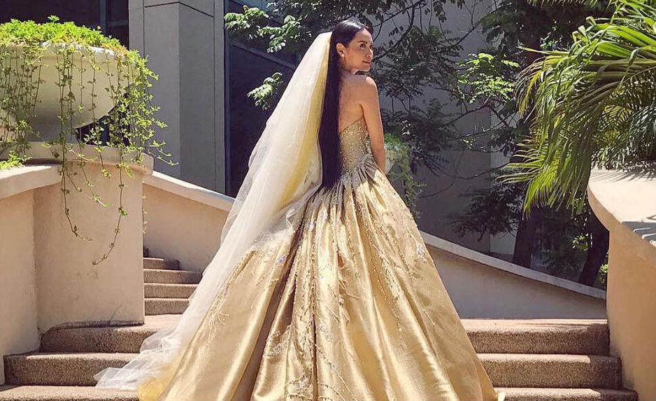 IN PHOTOS Divine Lees golden wedding gown