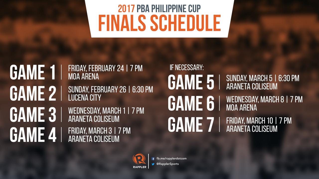 SCHEDULE 2017 PBA Philippine Cup Finals