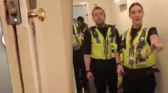 Man goes off on 'British f***ing police' who allegedly bashed through his front door 'to make sure there's nothing going on' amid COVID-19 lockdown