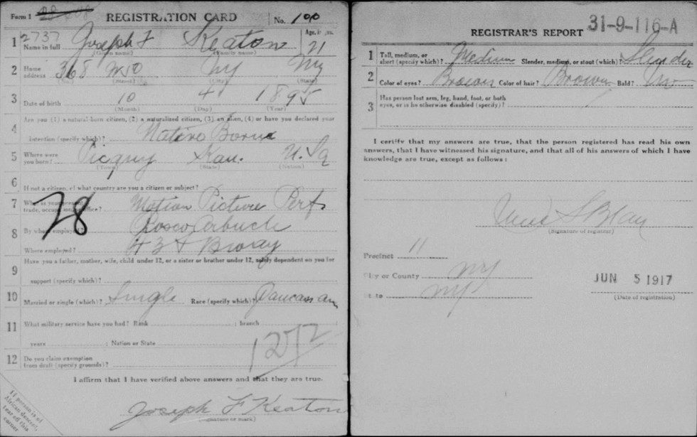 US icons in the World War One Draft Cards: Buster Keaton