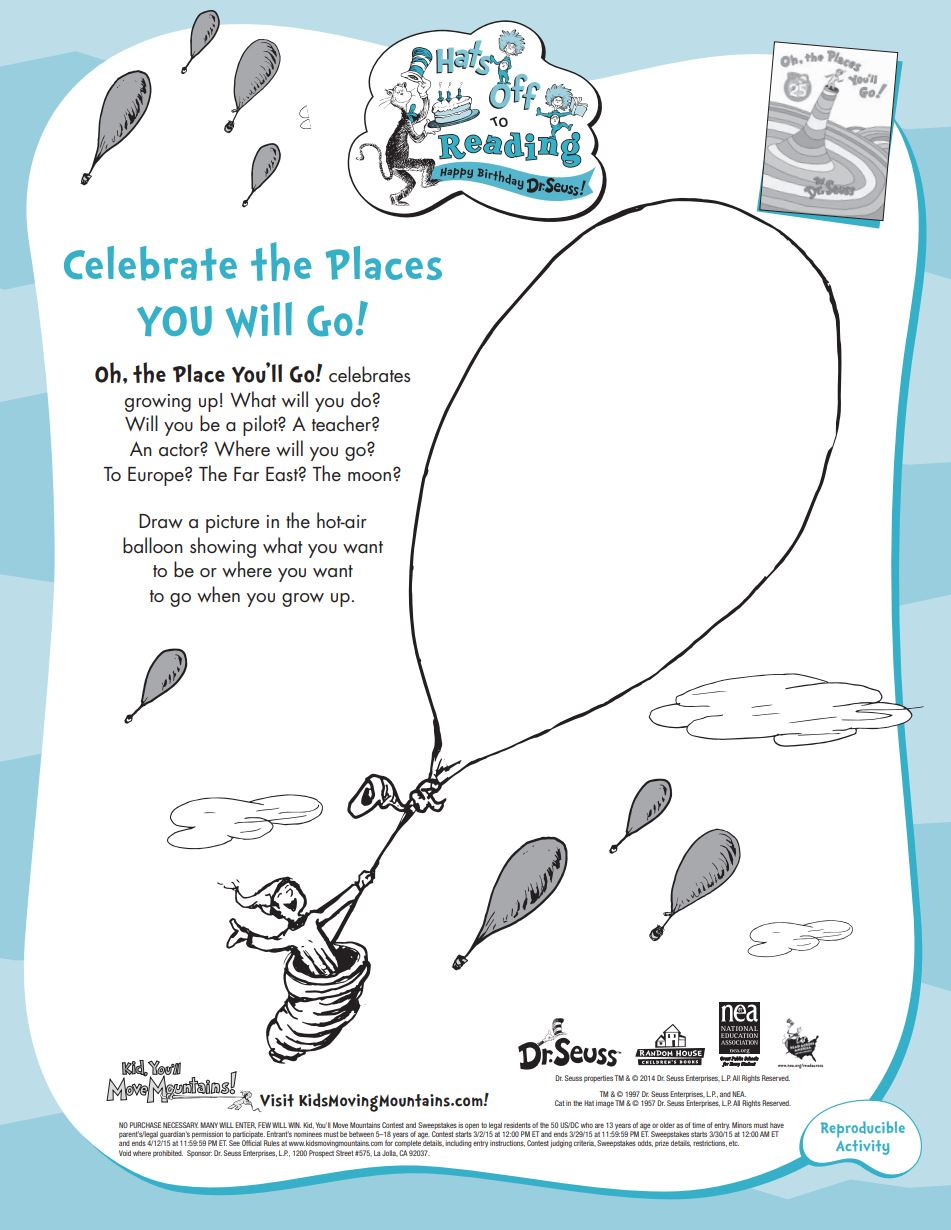 Oh The Places You'll Go Coloring Pages : places, you'll, coloring, pages, Seuss, Printables, Activities, Brightly