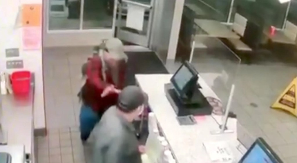 Surveillance video shows man stab Jack in the Box manager after being told to wear a mask