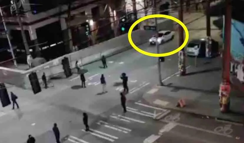 WATCH VIDEO: Antifa militant jumps on car's hood as fellow comrades close in. So the driver — reportedly an elderly man — hits the gas.