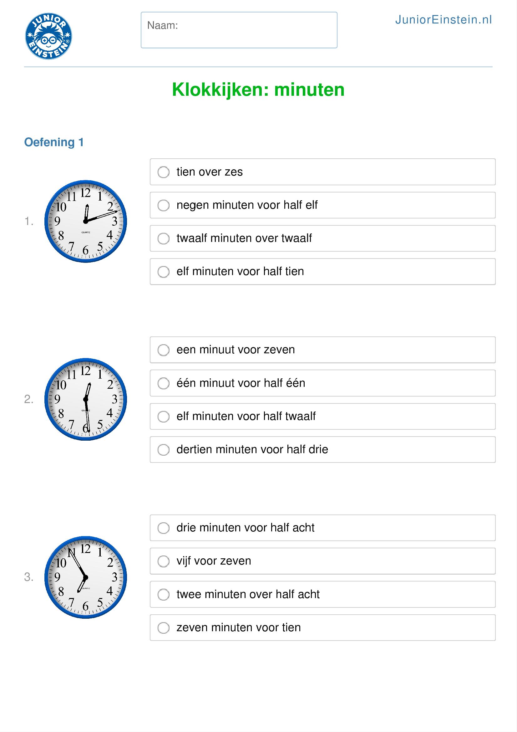 Werkblad: Klokkijken: minuten (geschikt voor groep 7)