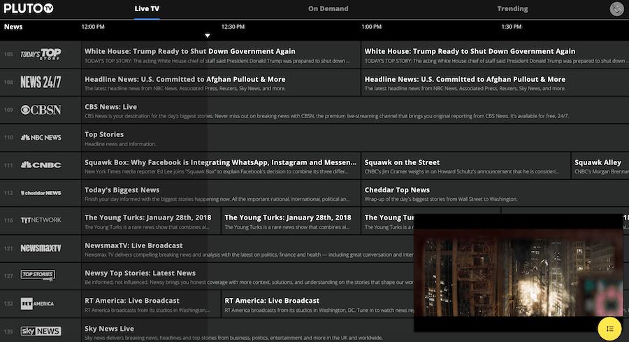 Pluto Screenshot for Free Streaming