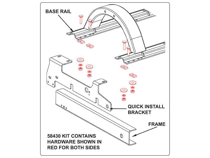 Reese 58430 Fifth Wheel Rail Hardware Kit