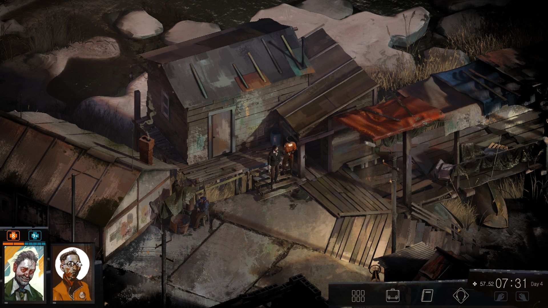 A screenshot of the singularly depressing beachside dwellings of Martinaise. They are rusting, rotting, and half falling down.