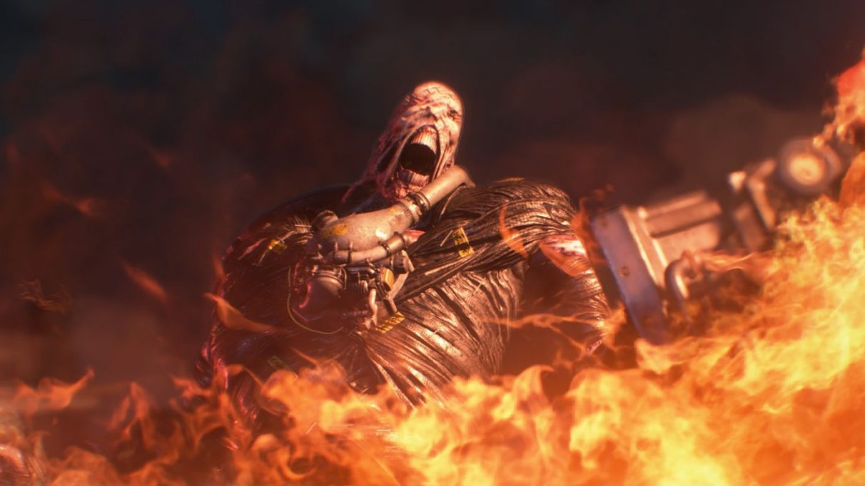 A screenshot of Nemesis in a whirlwind of fire from Resident Evil 3.