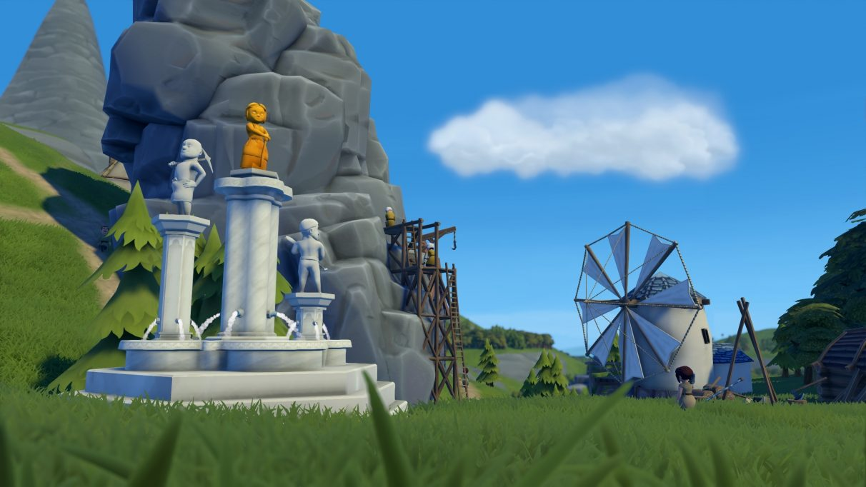 A screenshot of Foundation showing a wonder, in this case a big cool statue celebrating the workers of the town