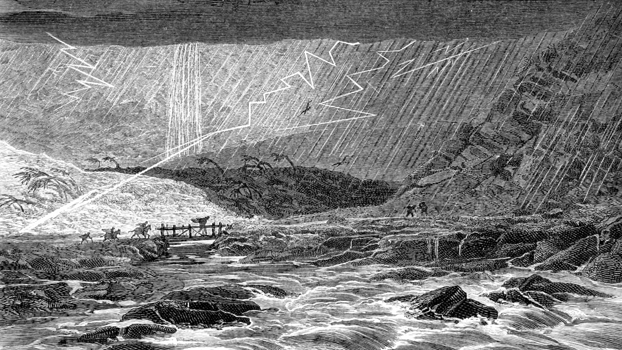 A storm in an illustration from 'Tropical Nature, an account of the most remarkable phenomena of life in the Western Tropics. Compiled from the narratives of distinguished travellers and observers.'