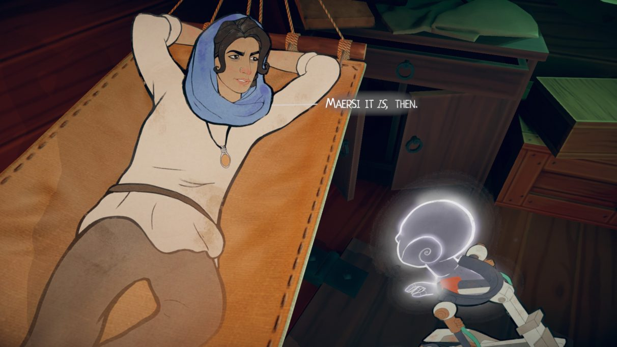 A screenshot showing Aliya from Heaven's Vault reclining in a hammock, talking to her robot Six about going to the planet Maersi.