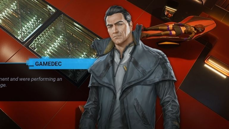 A screenshot of the player character portrait in Gamedec. He is called gamedec. He is a white man in a grey trenchcoat, and he has a ponytail rakishly draped over one shoulder. He is permanently a bit frowny. GAMEDEC.