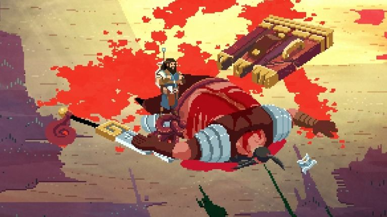 A screenshot of the protagonist of No Place For Bravery, Thorn, standing over a recently vanquished enemy. Thorn is a little pixely warrior with a beard and a sword, a barrel chest, and legs about two pixels wide. He has just defeated a giant with a massive, massive wooden shield. This giant is lying on the floor in a pool of blood. It's pretty, in a horrible way.