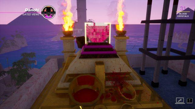 Spilling blood on a shrine in a Paradise Killer screenshot.