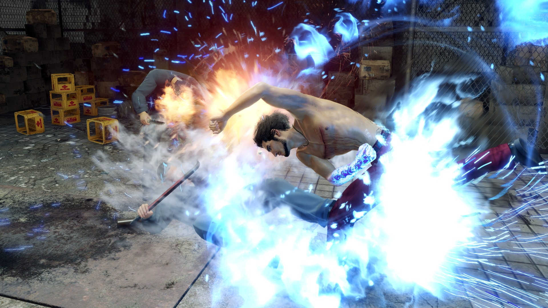 Kasuga punches an enemy with a swing that glows blue.
