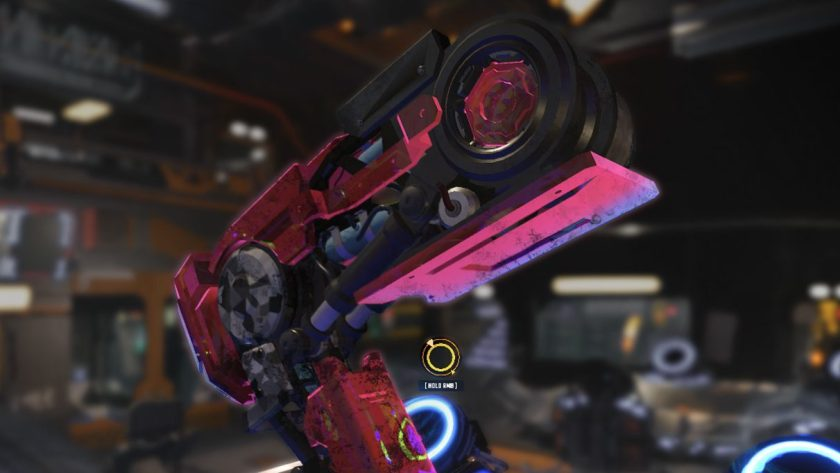 A screenshot of Mech Mechanic Simulator showing a big, pink robot leg in the middle of a futuristic garage.