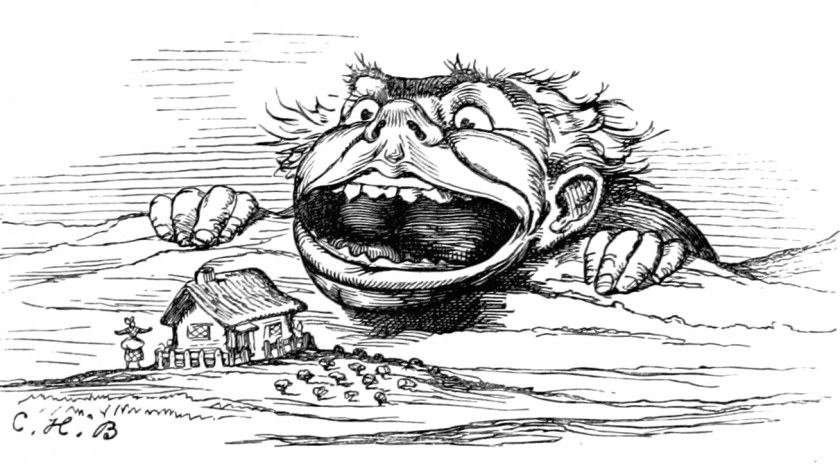A giant looms open-mouthed over a cottage in an illustration from 'The Baby's Museum; or, Rhymes, jingles and ditties, newly arranged by Uncle Charlie'.