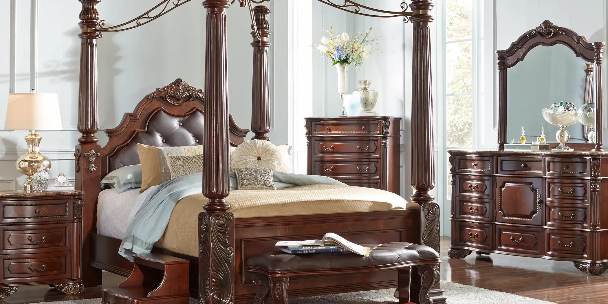 southampton walnut 6 pc queen canopy bedroom