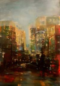 Abstract cityscape Painting by Dana Ortelecan | Saatchi Art