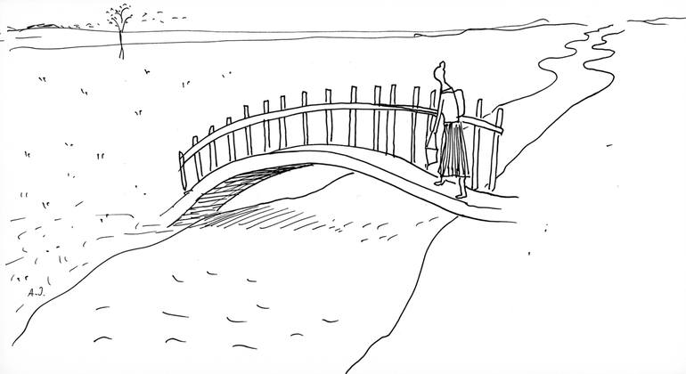 Saatchi Art: A woman is walking across the bridge. Drawing
