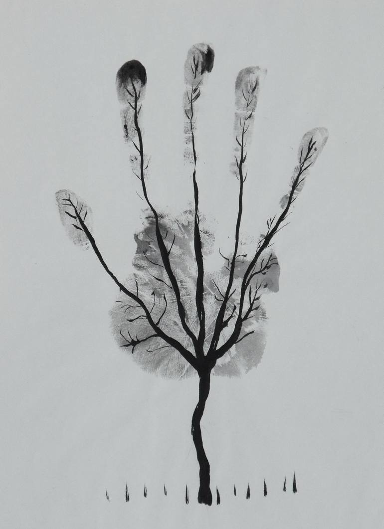Saatchi Art: Man's Hand Tree! Drawing by Ahmed Al Safi