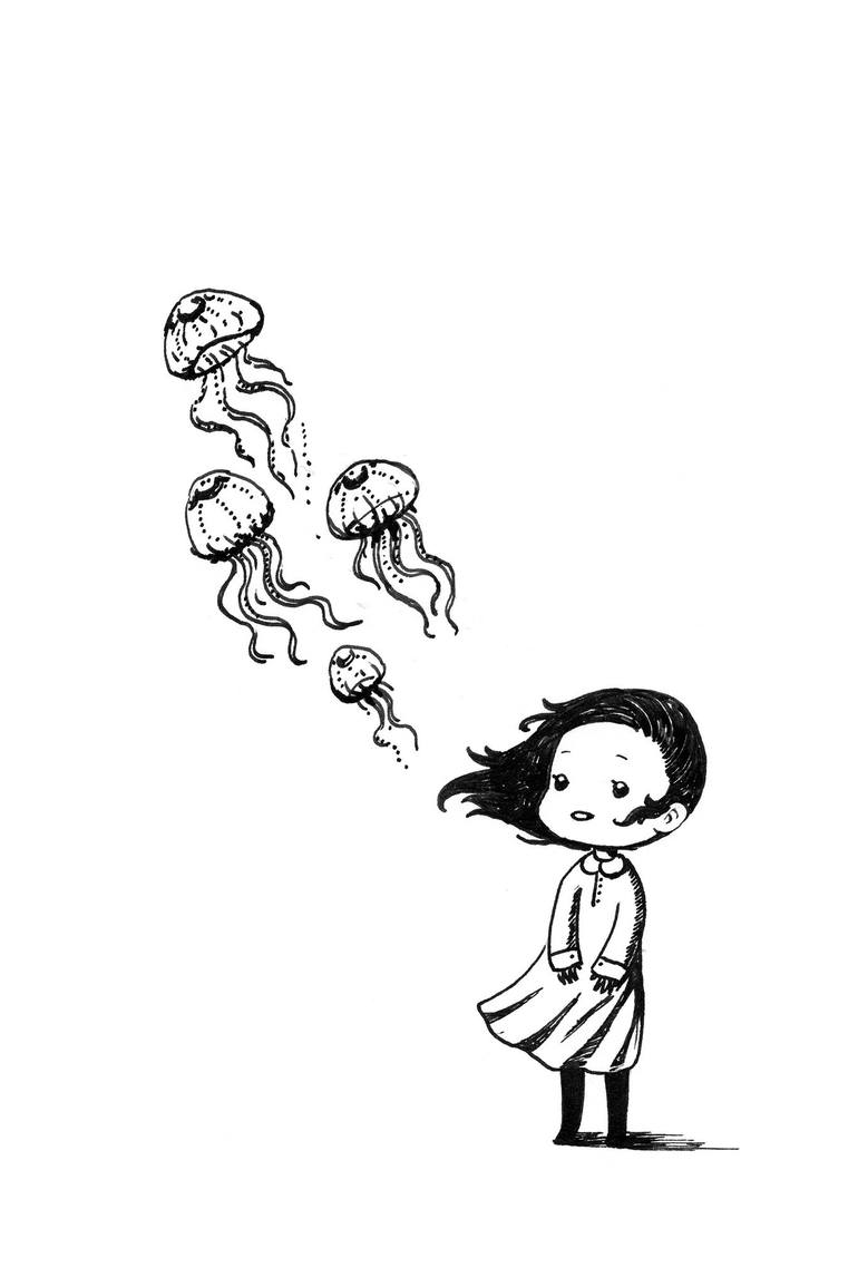 Saatchi Art: Girl and the Jellyfish Drawing by Indrė