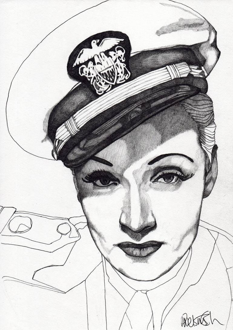 Saatchi Art: Marlene Dietrich Drawing by Paul Nelson-Esch