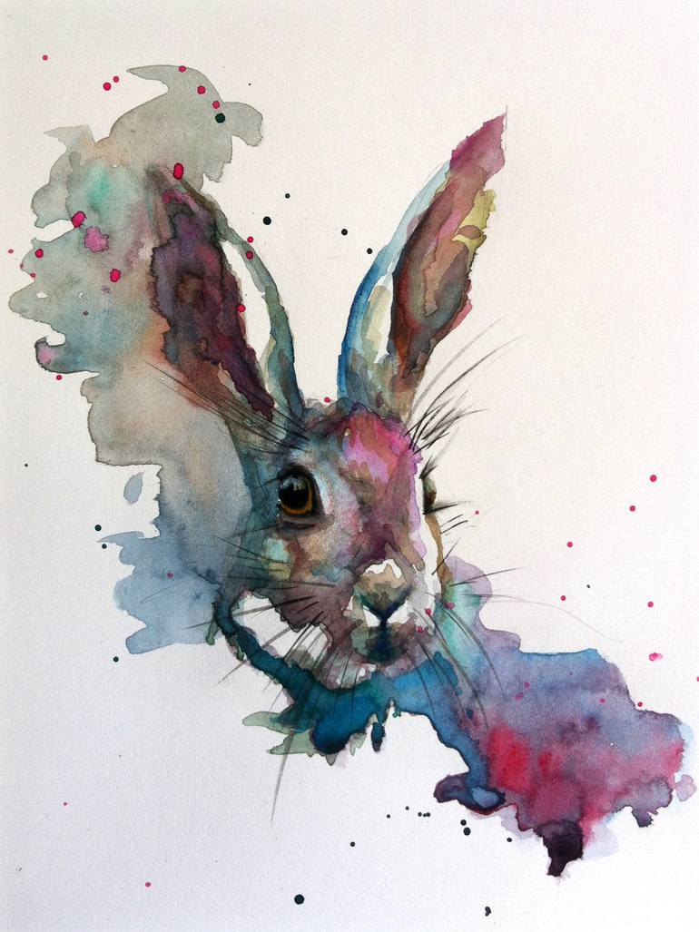 Animal Print Wallpaper Border Saatchi Art March Hare Painting By Sarah Stokes