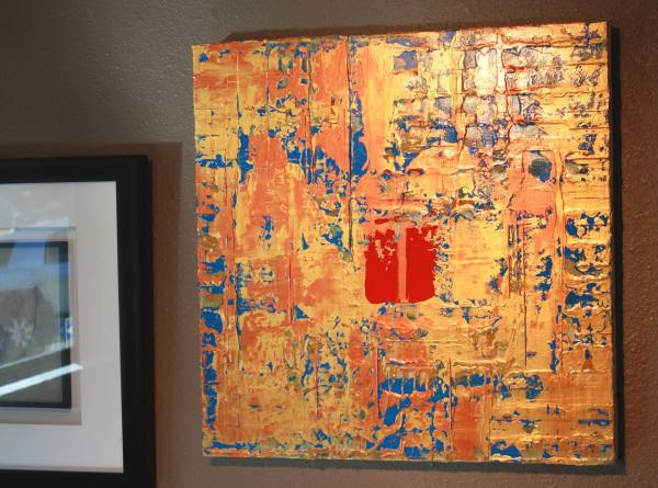 Primitive Asian Gold Copper Blue Abstract Painting