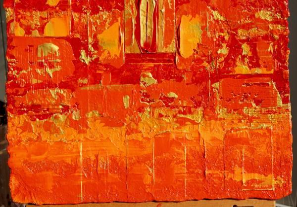Saatchi Art Primitive Abstract Gold Orange Wall Panel