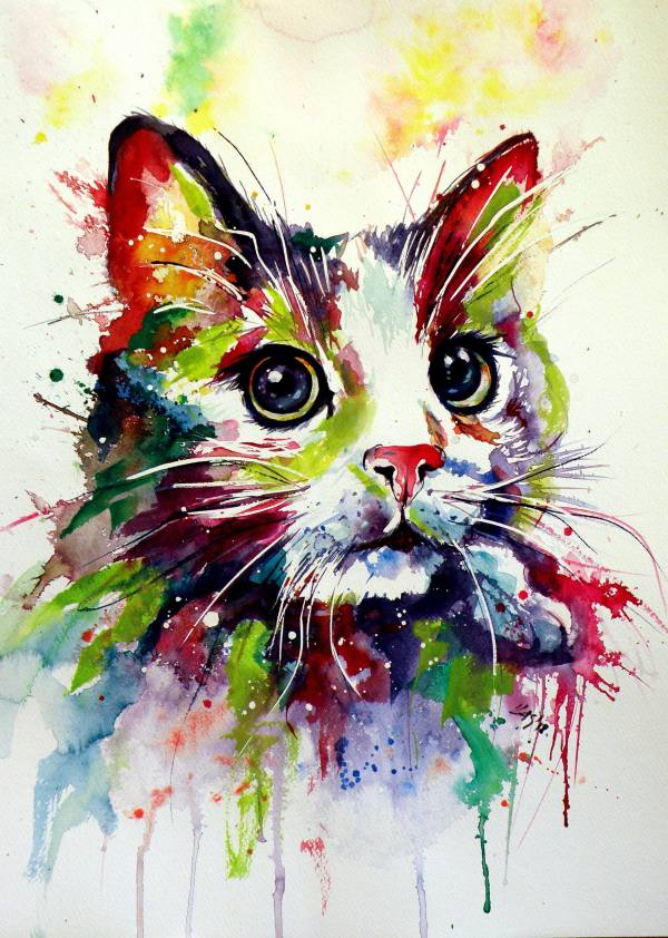 Colorful Cat Art Painting