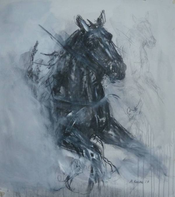 Horse Head Charcoal Drawing