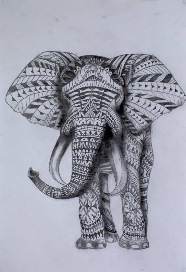 Saatchi Art Tribal Elephant Drawing Julian Rose