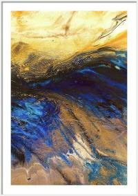 Golden Blue Ocean Wave Art Gold Blue Wall Art Print Gold