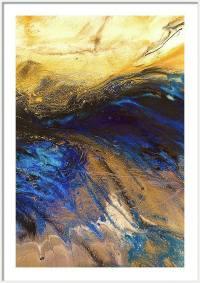 Golden Blue Ocean Wave Art Gold Blue Wall Art Print Gold ...