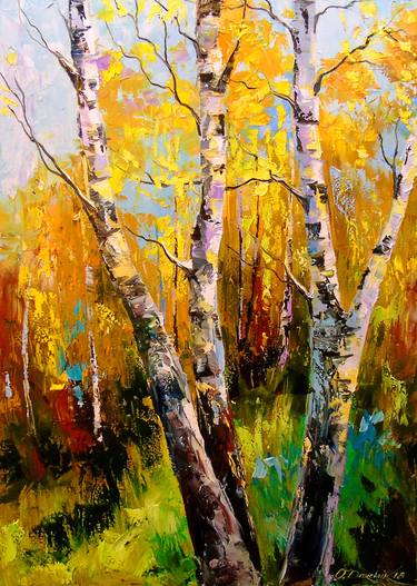 Birch Tree Fall Wallpaper Close Up Saatchi Art Birch Trees Painting By Olha Darchuk