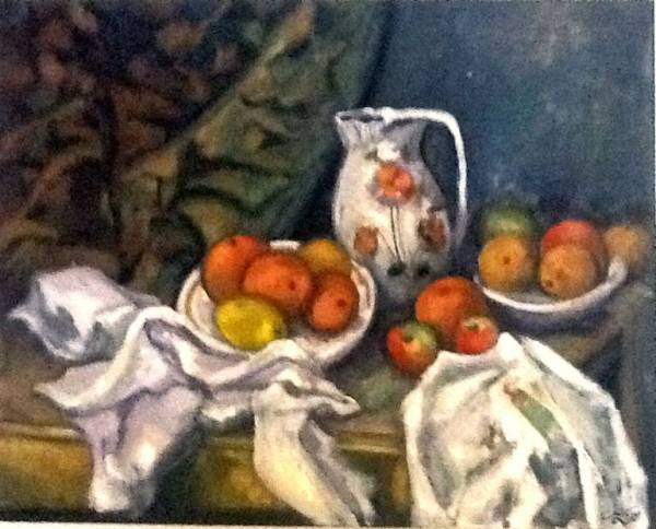 CEZANNE STILL LIFE WITH CURTAIN MODIFIED COPY TYPE
