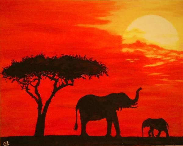 African Sunset Painting Olga Zavgorodnya Saatchi Art