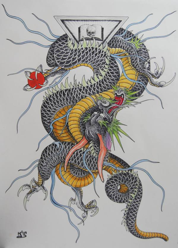 Japan Dragon Drawing Maxim Kokin Saatchi Art