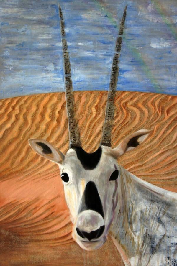Arabian Oryx Noah' Ark Painting Emiko Ishida