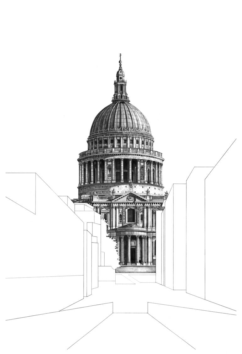 St Paul's Cathedral from the Millennium Bridge Drawing by