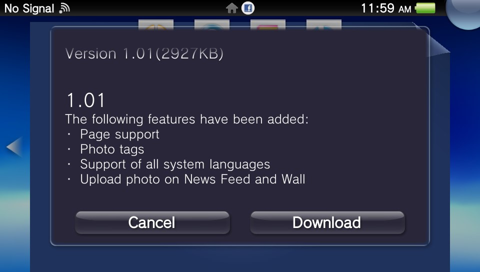 Facebook PS Vita App Updated With Photo Uploads More