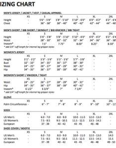 Sizing chart medium also podium cafe kits now on sale update last day rh podiumcafe